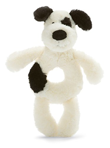 (Jellycat Bashful Black and Cream Puppy Ring Rattle, 6 inches)