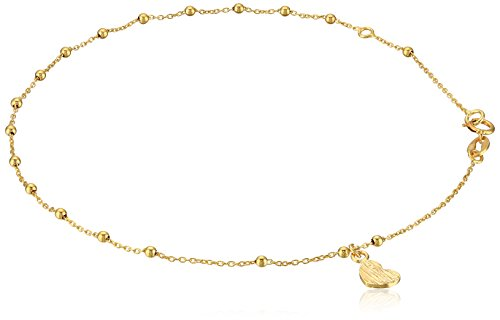 14k Yellow Gold Italian Station Beaded Heart Charm Anklet, 9