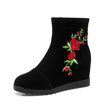 Fashion Shoes For Boots Heel Casual Wedge Toe Novelty Booties CN41 Boots Red Fabric Flower UK7 Wedding Boots Winter Fall RTRY EU40 US9 Ankle Round Women'S Light Y5qT0T