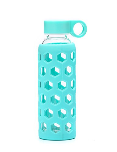 DOUYING Pyrex Glass Bottle with Silicone Sleeve 12 OZ & Stainless Steel Lid, Modern Drinking Reusable Travel Bottles, Juicing Containers, Leak-Proof Water/Beverage Bottles (Cyan)