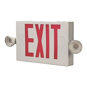 Cooper Lighting APC7R Self Powered Combination Exit Sign With LED Heads (2) LED White Housing Red Letter Sure-Lites