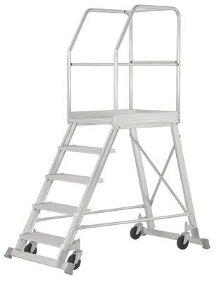 Hymer Podesttreppe fahrbar, einseitig begehbar, Podestgröße 600x800 mm, Stufenanzahl 7, Standhöhe 1700 mm, Gewicht 44,5 kg