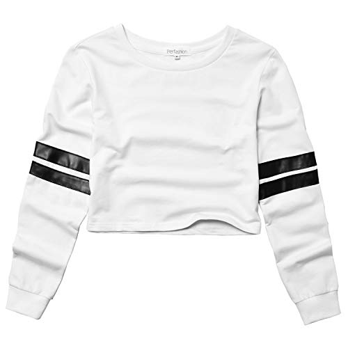 (Cropped Sweatshirts for Women, Long Sleeve Cute Crop Top Shirt Cotton Pullover White)