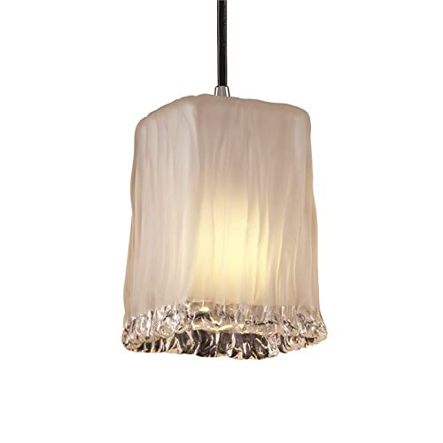 Justice Design Group Veneto Luce Collection 1-Light Pendant - Square with Rippled Rim - Polished Chrome Finish with White Frosted Venetian Glass Shade
