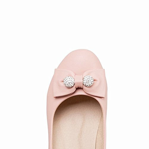Mee Shoes Damen Blockabsatz mit Schleifen Strass Pumps Pink