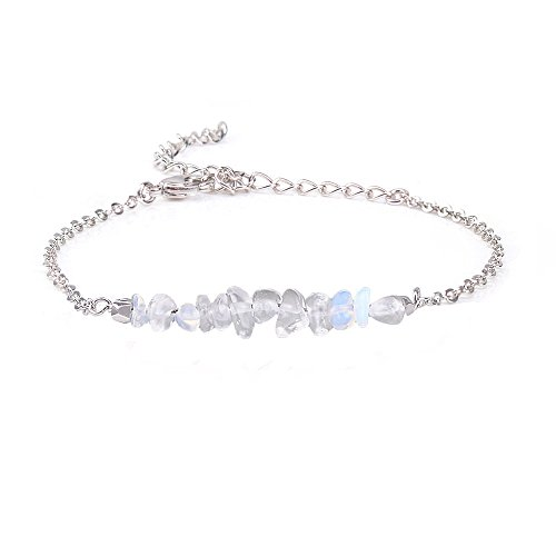 (Jeka Opalite Crystal Gemstone Bracelet for Women Girls Natural Stone Clear Quartz Bar 18K White Gold Chain Jewelry Dainty Gifts for Valentine's Day)