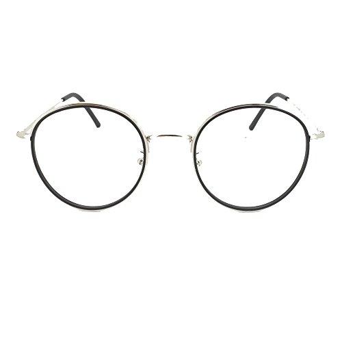 Eye Buy Express Bifocal Prescription Mens Womens Black Silver Round Reading Glasses Anti Glare Quality - Glasses Eyesight Frames