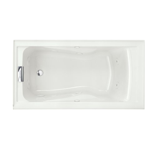 American Standard 2425VC-LHO.020 Evolution 5-Feet by 32-Inch Left-Hand Outlet Whirlpool Bath Tub with EverClean, Hydro Massage System I and Integral Apron, White (Recessed Standard Apron American)