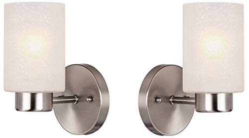Westinghouse Sylvestre One-Light Indoor Wall Fixture, Brushed Nickel Finish with Frosted Seeded Glass Pack of 2 (One Light- Pack) Brushed Nickel Indoor Wall