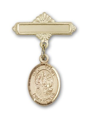 ReligiousObsession's 14K Gold Baby Badge with Holy Family Charm and Polished Badge Pin by Religious Obsession