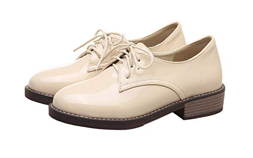 Albaricoque Agoolar Cerrada Cordones gmxdb006807 Tacón De Puntera Mini Tacón Mujeres Microfibra Zapatos ITx1ZrqTPw