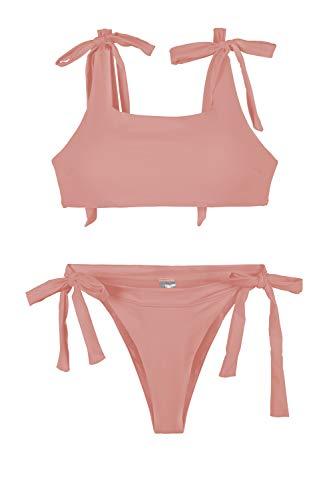 Pink Queen Women's Sporty Bandage High Cut Thong String Bikini Set Swimsuit (L, Pink)