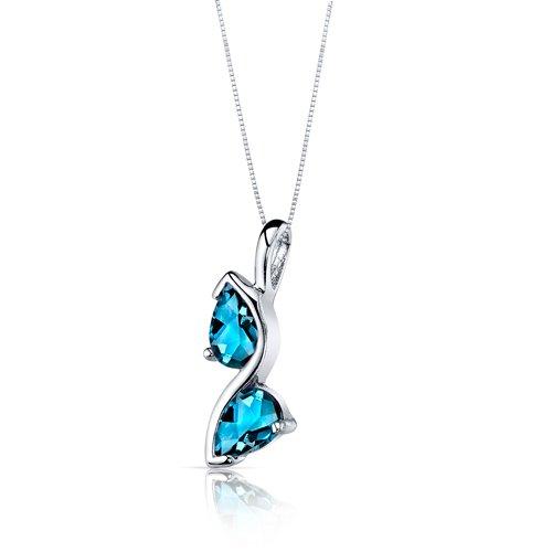 Peora Womens London Blue Topaz Pendant Earrings Necklace Set Sterling Silver Pear Shape 3.00 Carats