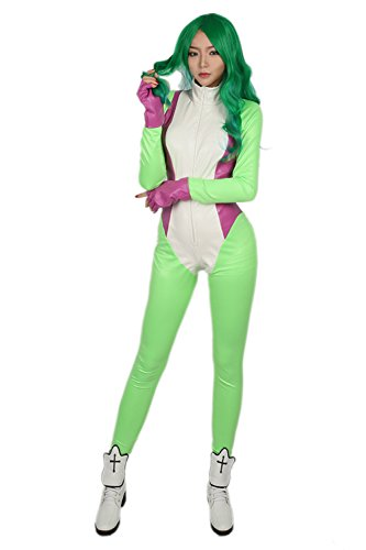 She Hulk Halloween Costumes (She Hulk Costume Grass Deluxe PU Zentail Gloves Cosplay Jumpsuit Accessory)