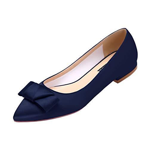 ERIJUNOR E0131A Women Wedding Flats Comfortable Heels with Bow Knot Evening Party Dress Shoes Navy Size 10 (Flats Evening)