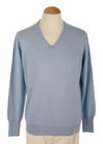 Shephe 4 Ply Men's V Neck Cashmere Sweater Sky Blue ()