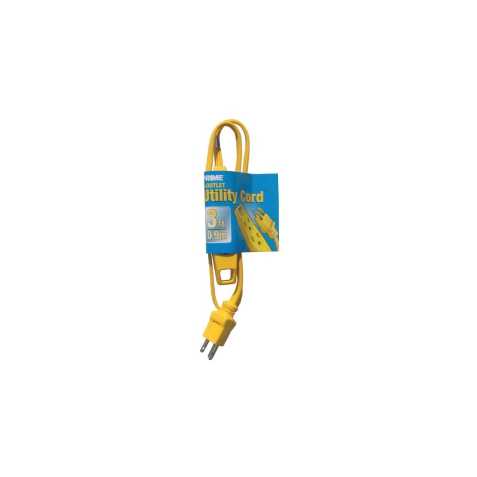 Prime Wire & Cable EC840603 3 Foot 16/3 SPT 2 3 Outlet Utility Indoor Cord, Yellow