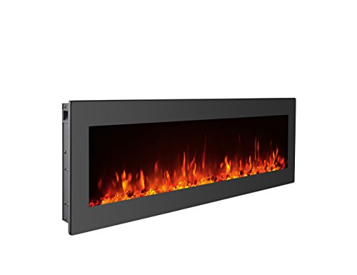 GMHome 40 Electric Fireplace Wall Mounted Freestanding Heater Crystal Stone Flame Effect 9 Changeable Flame Color Fireplace, w Remote, 1500 750W, Black