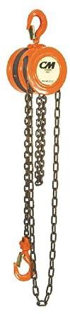 "CM 2256 Steel Lightweight Hand Chain Hoist, 2000 lbs Capacity, 10' Lift Height, 1-1/32"" Opening"