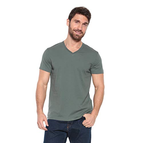 - Men's Designer T-Shirt Lightweight Semi Fit Short Sleeve V-Neck Organic Cotton Pre-Shrunk Embroidered - Made in USA (Medium, Green)