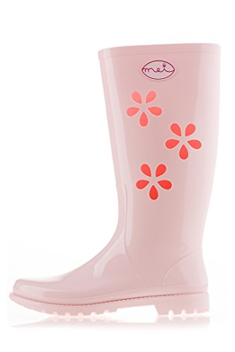 Donna Gomma bianco MEI Stivali rosa di Oqpn6nBwt