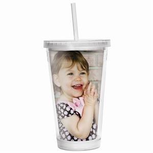 16 oz. Photo Acrylic Tumbler with Straw - Case of 24 -