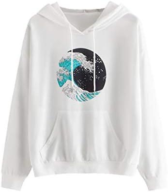 SweatyRocks Womens Long Sleeve Floral Print Pullover Hoodie Sweatshirt Tops