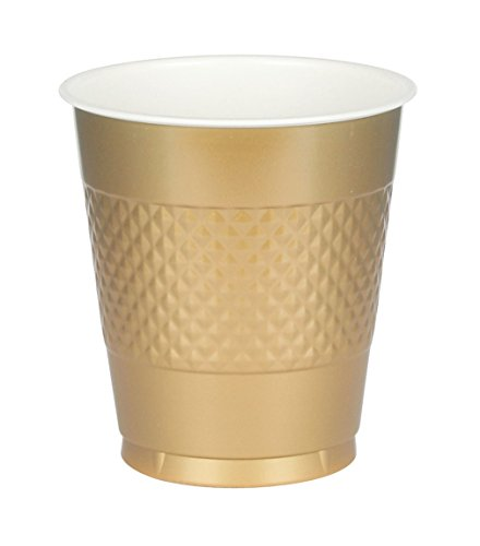 Amscan Big Party Pack Gold Plastic Cups | 16 oz. | Pack of 50 | Party -