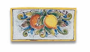 Hand Painted Orange and Lemon Rectangular Tile From Italy
