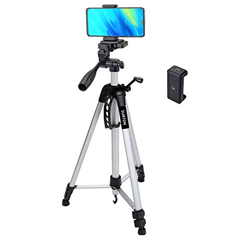 SUBTON Tripod Camera Stand 55 Inches with 360 degree Vertical & Horizontal Rotation for YOUTUBE FAMILY KIDS ONLINE TUTORIAL CONFERENCE LIVE video recording & Photoshoot & Free Table Small Mobile Stand
