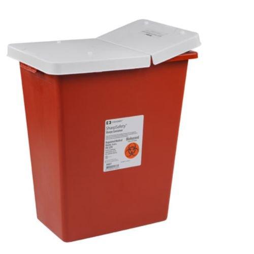 Covidien 8998 SharpSafety Sharps Container Gasketed Hinged Lid, 18 gal Capacity, Red (Pack of 5)