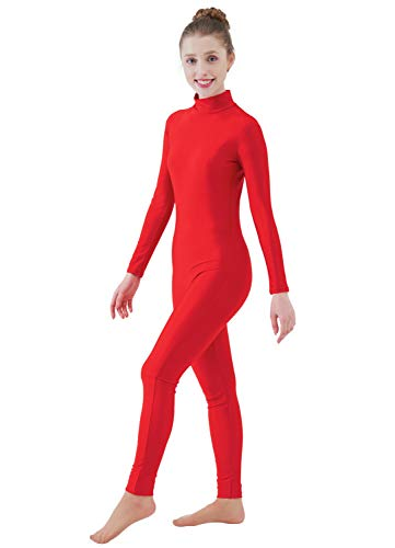 Ensnovo Womens Turtleneck Spandex Long Sleeve Front Zipper Footless Unitard Red,XL]()