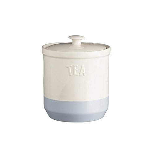 Blue Tea Canister - Mason Cash Bakewell Stoneware Tea Jar, 34-Fluid Ounces, Cream, Blue