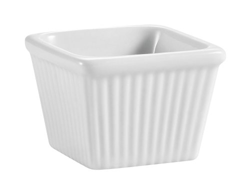 Cac China Accessories (CAC China Accessories 2-7/8-Inch by 2-Inch 4-Ounce Super White Porcelain Square Fluted Ramekin, Box of 48)