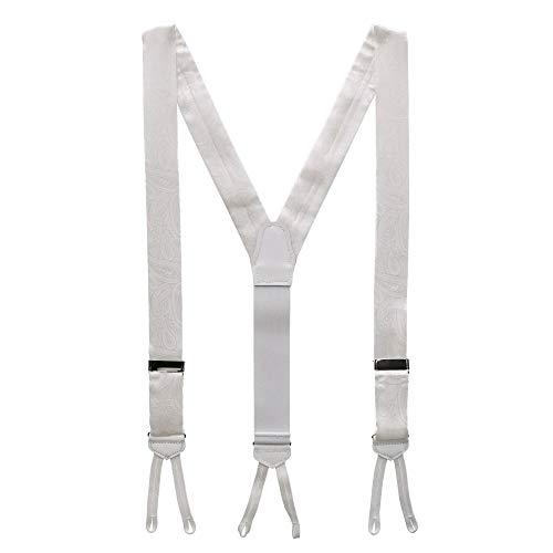 CrookhornDavis Men's Formal Silk Tone on Tone Paisley Braces, White (Suspenders) (Silk Braces)