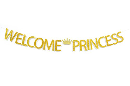 Welcome Princess with Crown Gold Glitter Banner For
