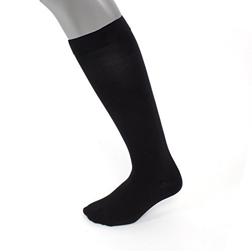 Compression Socks | Mens Black Dress Casual (1 pair) | (15-20 mmHg) Graduated | Sock Size 10-13 | Improve Foot Health Comfort Circulation for Diabetes, Edema, Flight Travel, Swollen Feet by Sugar Free Sox (Image #1)