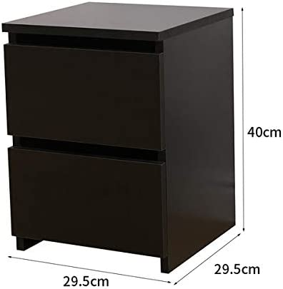AVC Designs 2 Drawer Storage Chest of Drawers Bedside Table Modern MDF Black