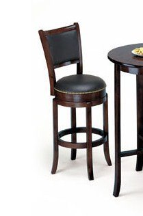 Soft Leather Swivel Bar Stool With Leather Backrest In Espresso Finish