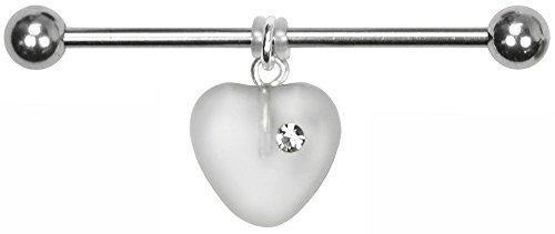 BodySparkle Body Jewelry Juliet Heart Industrial Barbell-14g-35mm-Czech Glass Heart Dangle Industrial Bar -White