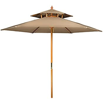 Amazon Com 9 3 Tier Umbrella In Khaki Garden Amp Outdoor