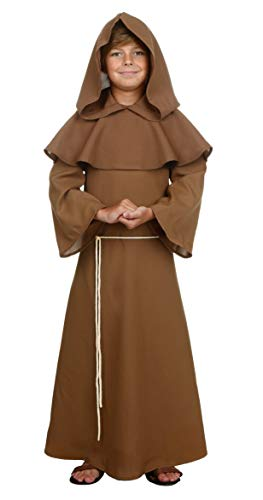 COSKING Pastor Costume Boys, Deluxe Kids Halloween Friar Cosplay Outfit