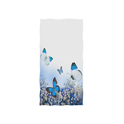 (MOYYO Blue Hydrangeas Butterfly Hand Towels Soft Highly Absorbent Large Hand Towels 15 x 30inch Fingertip Towels Bath Towel Multiprupose for Hand Face Bathroom Gym Hotel Spa)