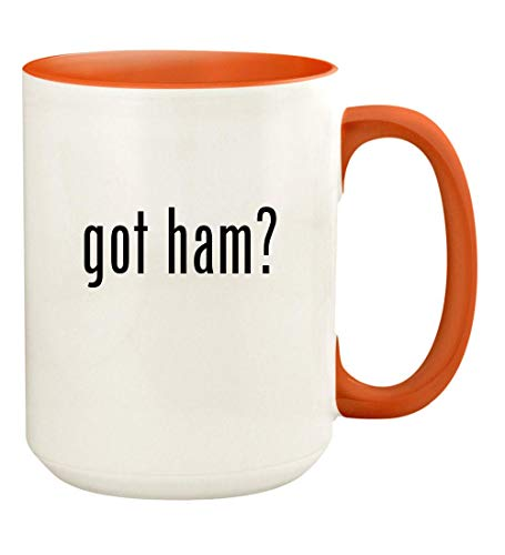 got ham? - 15oz Ceramic Colored Handle and Inside Coffee Mug Cup, - Ham Glaze Orange