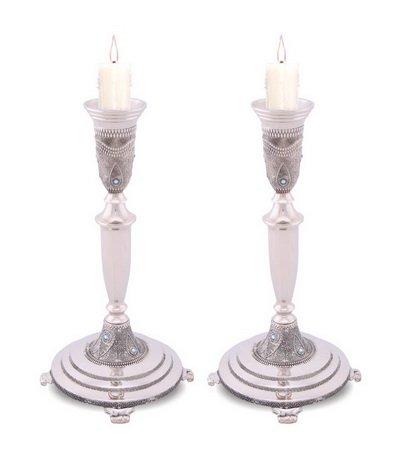 "Elegant set of Nickel Filigree Candlesticks with Blue Crystal Stones 10"" Tall"