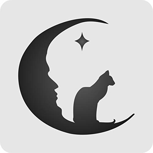 "Moon Cat Stencil - (Size 6.5""w x 6.5""h) Reusable Halloween Wall Stencils for Painting & Holiday Projects - Use on Walls, Floors, Fabrics, Glass, Wood, and -"