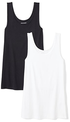 Amazon Essentials Women's 2-Pack Slim-Fit Tank, Black/White, Large (Top Fashion)