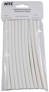 NTE Electronics 47-20506-W Heat Shrink Tubing, Thin Wall, 2:1 Shrink Ratio, 1/4'' Diameter, 6'' Length, White (Pack of 20)