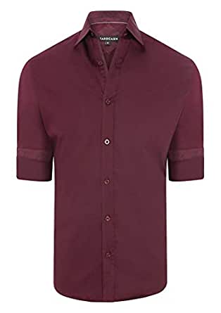 Tarocash Men's Brock Stretch Shirt Burgundy S Stretch Cotton Regular Fit Long Sleeve Sizes XS-5XL for Going Out Smart Occasionwear