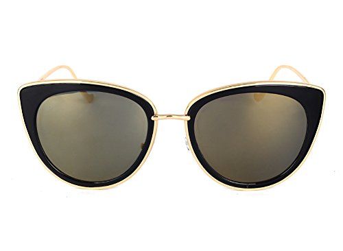 [SojoS Womens Fashion Metal Frame Flash Mirror Revo Lens Cat Eye Sunglasses SJ1002 With Gold Frame/Gold Mirror] (Lovely Leopard Sexy Costumes)